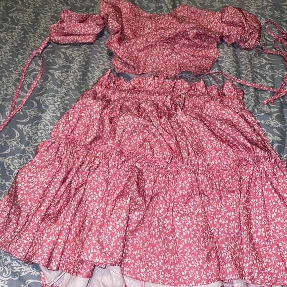 2 piece floral skirt set